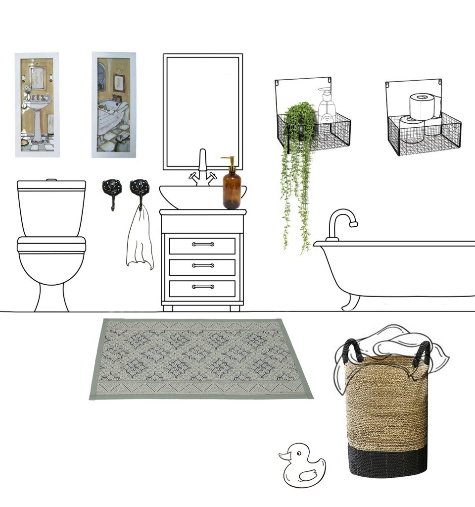 הדמייה לחבילת עיצוב לחדר האמבטיה