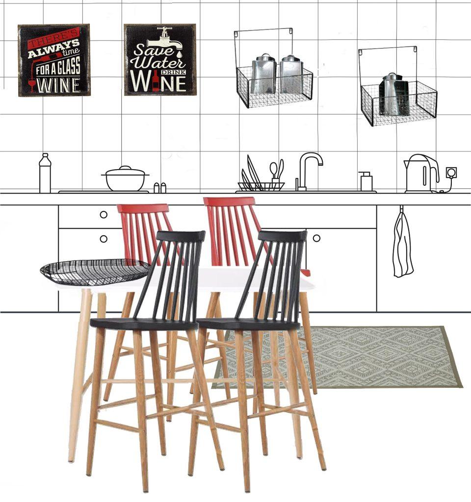 הדמייה לחבילת עיצוב למטבח במראה תעשייתי
