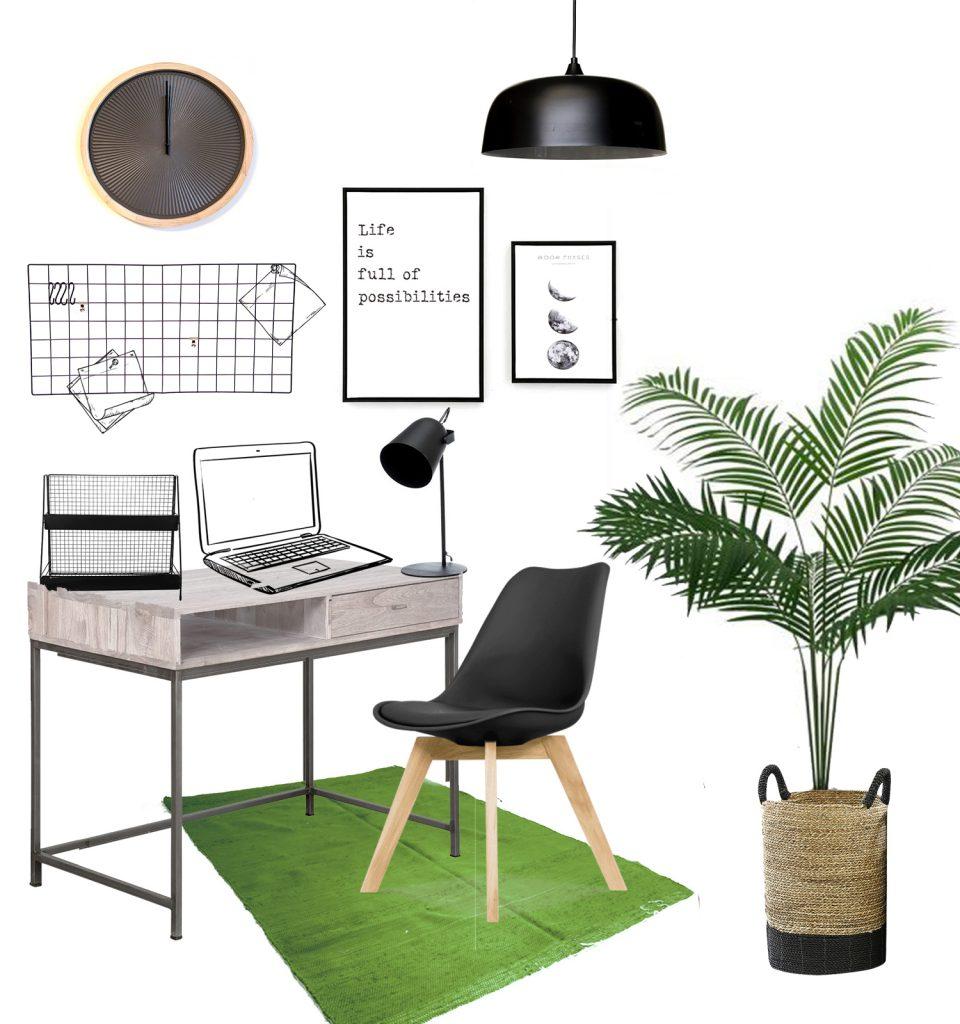 הדמייה לחבילת עיצוב לפינת עבודה בסגנון מודרני