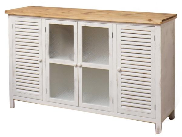 מזנון ויטרינה בלבן פלטת עץ טבעי בחלק העליון ארבע דלתות שתי דלתות זכוכית ויטרינה אטומה עם דוגמא שתי דלתות תריס