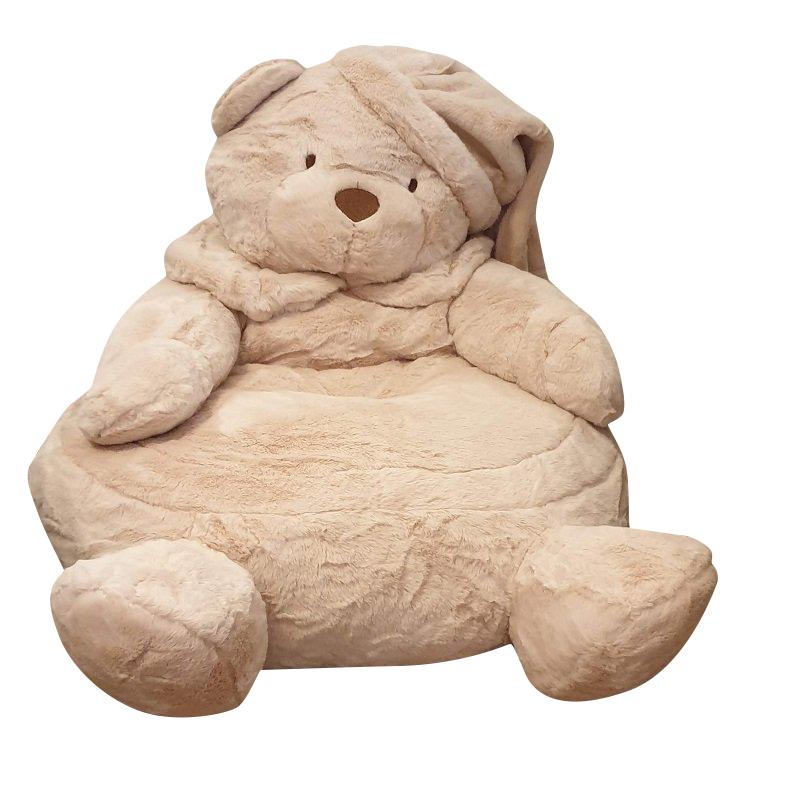 פוף ישיבה מפרווה בצורת דוב בבז' במילוי כותנה דחוסה