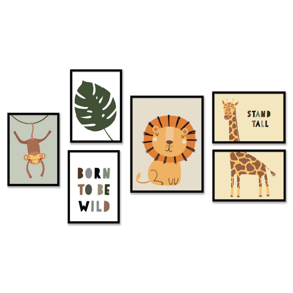 סדרה של שש תמונות בנושא חיות במסגרת עץ שחורה