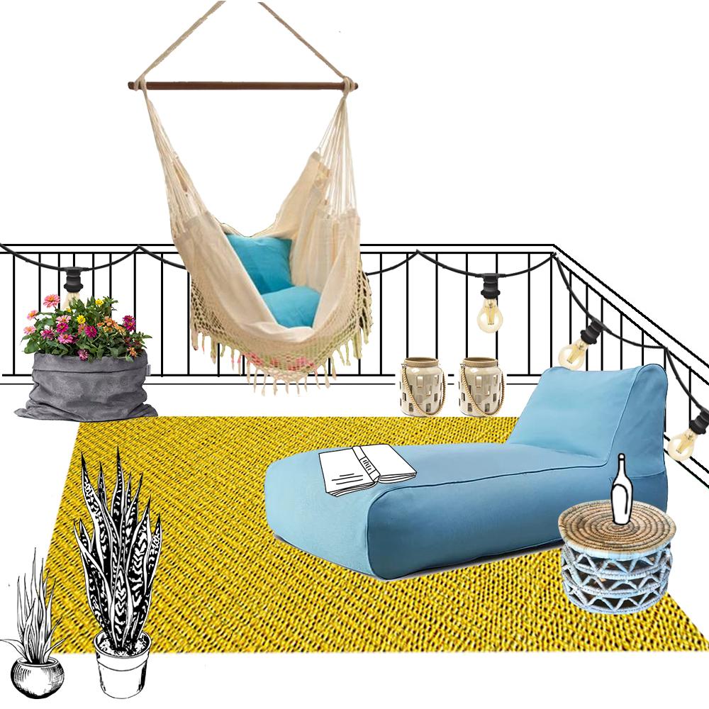 הדמייה לחבילת עיצוב למרפסת ולגינה בסגנון מודרני