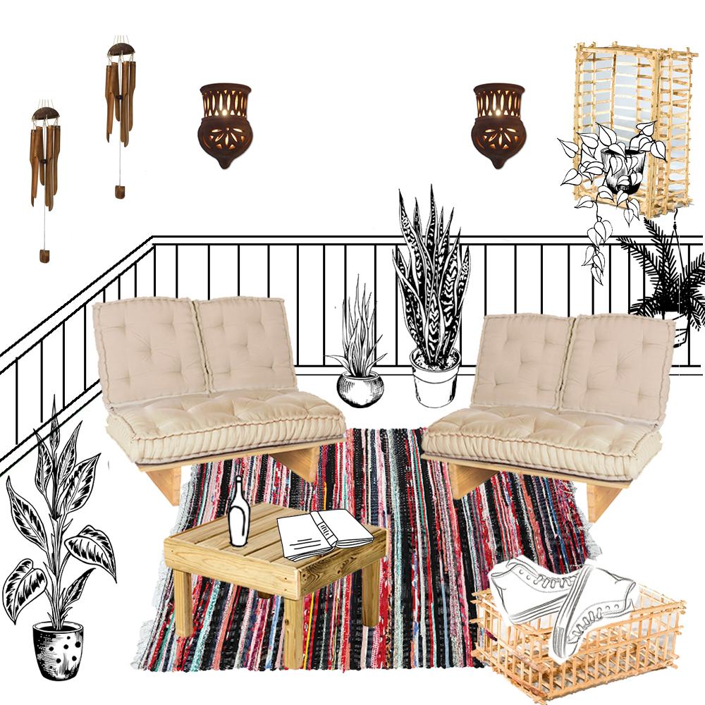 הדמייה לחבילת עיצוב למרפסת ולגינה בסגנון שאנטי סיני